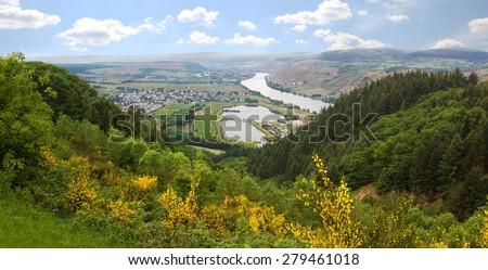 hilly landscape and view to mosel river, saarland germany - stock photo