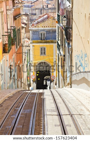 Hilly streets in Lisbon - stock photo
