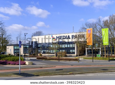 Hilversum, Holland, February 29, 2016: Entrance of the Media Park, center of Dutch television, radio and media