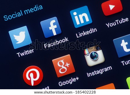 HILVERSUM, NETHERLANDS - APRIL 03, 2014: Social media are trending and both business as consumer are using it for information sharing and networking. - stock photo