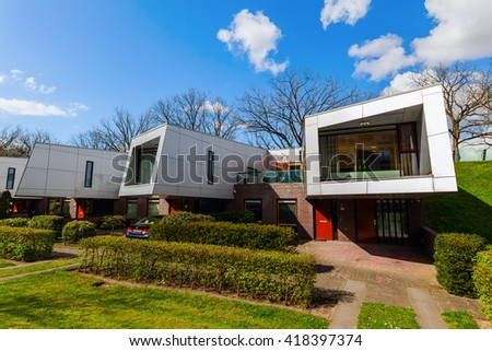 Hilversum, Netherlands - April 19, 2016: sound barrier houses called The Cyclops. They are part of a sound proof embankment, designed by NIO architects.