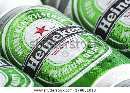 HILVERSUM, NETHERLANDS - FEBRUARY 04, 2014: Heineken International is a Dutch brewing company, founded in 1864 in Amsterdam. As of 2012, Heineken owns over 190 breweries in more than 70 countries.