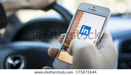 HILVERSUM, NETHERLANDS - JANUARY 06, 2014: Linkedin is a social networking website for people in professional occupations. As of June 2013 more than 259 million users in more than 200 countries. - stock photo