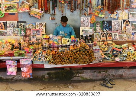 Himachal Pradesh, India: SEPT 25th, 2015: Shops with souvenirs and other Religious items at Indian God Baba Balak Nath Ji Temple Complex in Himachal India