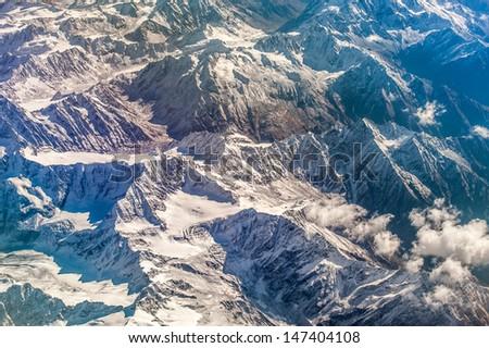 himalaya glacier with a bird's-eye view-ladakh-india - stock photo