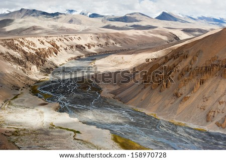 Himalaya high mountain landscape. Rock and sand formation along the Sumkhel Lungpa River. India, Ladakh, More Plain, Manali-Leh highway view, altitude 4600 m - stock photo
