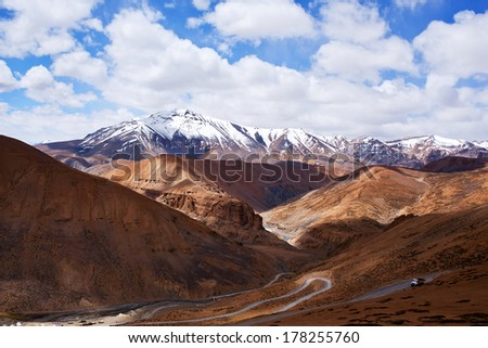 Himalaya mountain landscape at the Manali - Leh highway in Ladakh, Jammu and Kashmir State, North India - stock photo