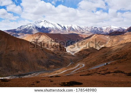 Himalaya mountain landscape at the Manali - Leh highway in Ladakh, Jammu and Kashmir State, North India