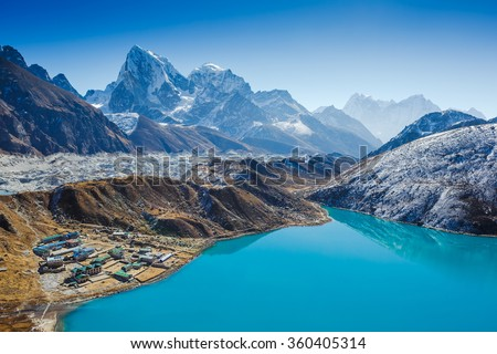 Himalaya Mountain landscape. View from Gokyo Ri, 5360 meters up in the Himalaya Mountains of Nepal - stock photo