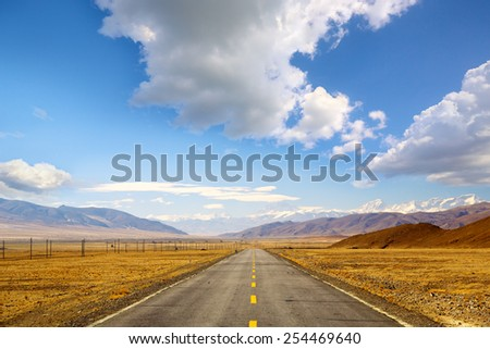 Himalaya mountain landscape with road in Tibet - stock photo