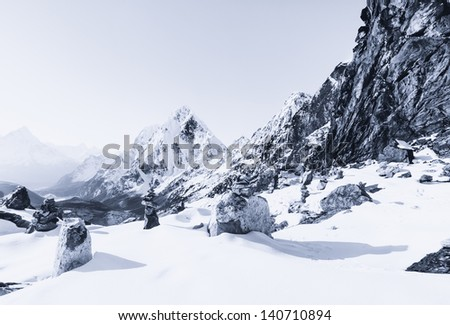 Himalaya mountains covered with snow at daybreak. Cho La pass - stock photo
