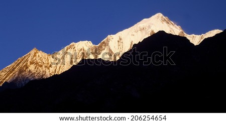 himalaya mountains in sunrise time  - stock photo
