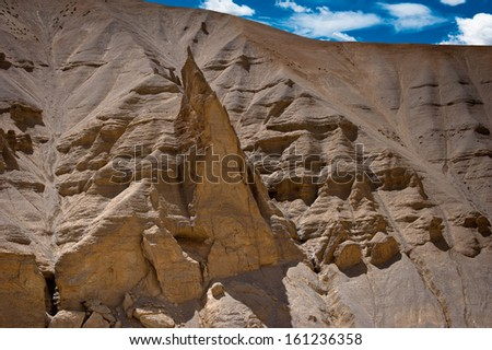 Himalaya mountains landscape. Rock and Sand formation at Pang. India, Ladakh, Sarchu Plain, Manali-Leh highway view, altitude 4300 m - stock photo