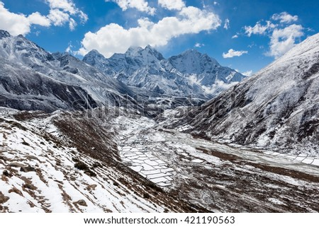 Himalaya mountains valley in snow. Sagarmatha National Park, Himalaya mountains, Nepal. Beautiful landscape with Himalaya mountains and highland fields under snow on sunny day.