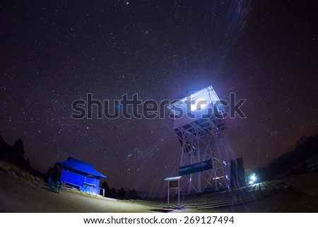 Himalaya Mountains View from Poon Hill 3210m at night with stars - stock photo