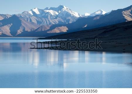 Himalayan lake Moriri Tso, Ladakh, Jammu and Kashmir, India. - stock photo
