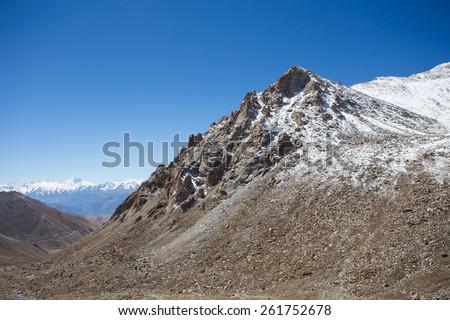 Himalayan landscape in Himalayas along Manali-Leh highway. Himachal Pradesh, India - stock photo