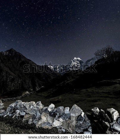 Himalayan landscape in the Moonlight - Everest region, Nepal, Himalayas - stock photo