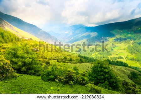 Himalayan mountains and rice field, Nepal - stock photo
