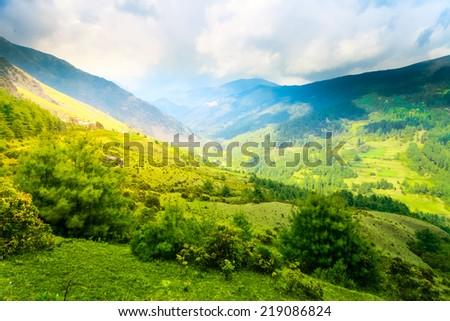 Himalayan mountains and rice field, Nepal - stock photo