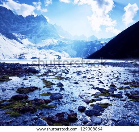 Himalayan mountains,Nepal - stock photo