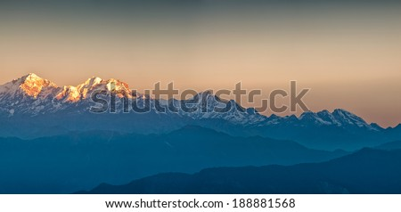 Himalayan Mountains View from Mt. Shivapuri, Shivapuri Nagarjun National Park - stock photo