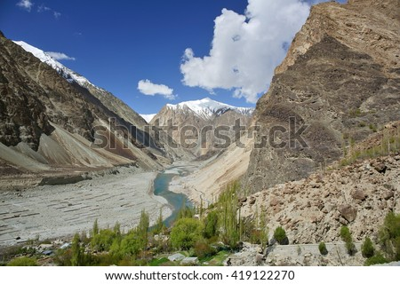 Himalayan oasis in Shyok river valley, Ladakh, Jammu & Kashmir, India - stock photo