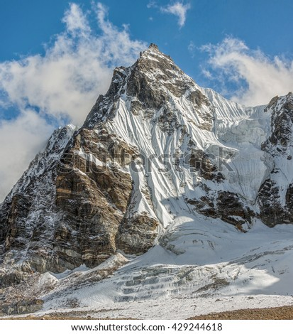 Himalayan peaks near the Renjo pass in the area of Cho Oyu - Gokyo region, Nepal, Himalayas - stock photo