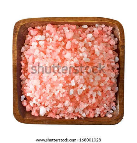 Himalayan salt in bowl from top including clipping path