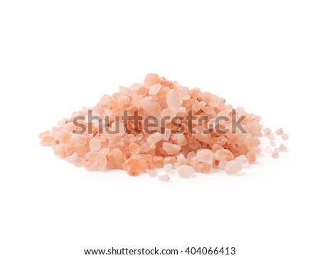 Himalayan salt pile on white background