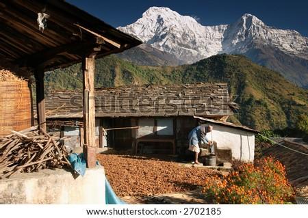 Himalayan village, Nepal - stock photo