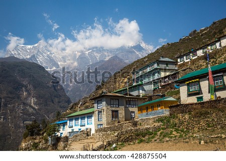 Himalayan village on the track to the Everest base camp - stock photo