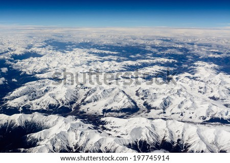 Himalayas from airplane