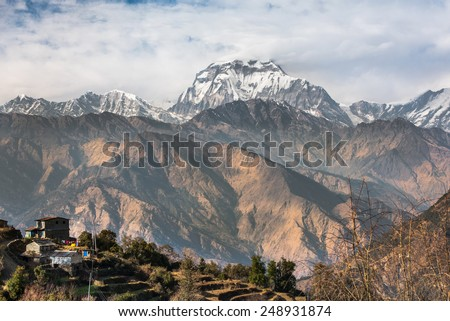 Himalayas mountain landscape. - stock photo