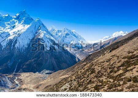 Himalayas mountain landscape. Around Manaslu trip - stock photo