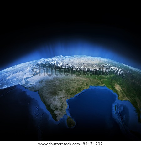 Himalayas mountains. Earth lights 3d render, elements of this image furnished by NASA - stock photo