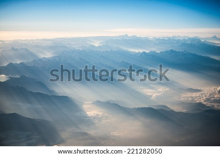 Himalayas mountains Everest range panorama aerial view - stock photo