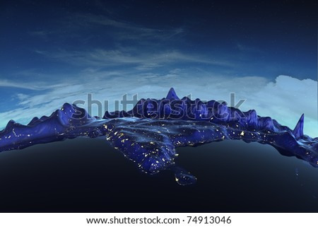 Himalayas real relief under night sky. Earth map from NASA - stock photo