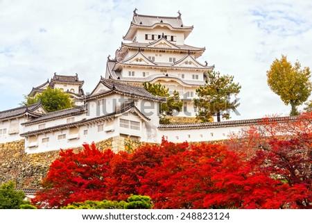 Himeji Castle, also called White Heron Castle, in autumn season, Japan.  - stock photo