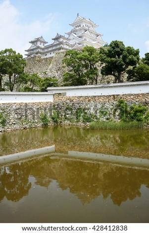 Himeji Castle view across the moat pond - famous samurai castle in Himeji, Japan - stock photo