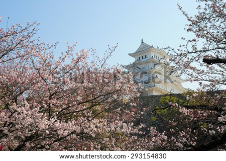 HIMEJI,JAPAN-MARCH 31 : Himiji castle is landmark in Japan Himeji city is one of the main tourist attraction. With over 3 million people visit Himeji Castle each year on 31 March 2015.