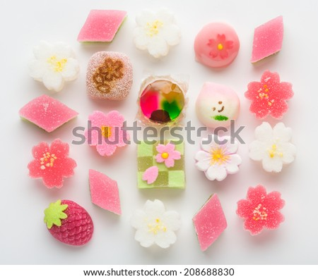 "Hinamatsuri (Girls' Day) seasonal ""wagashi"" Japanese treats  - stock photo"
