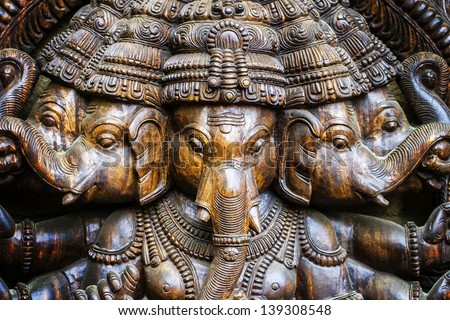 Hindu deities like rendition of elephants - stock photo