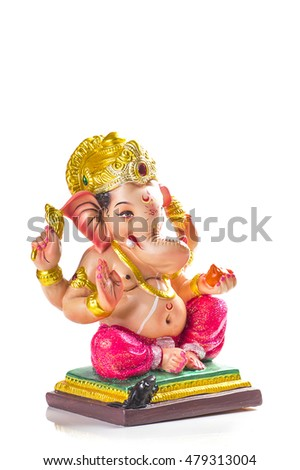 Hindu God Ganesha. Ganesha Idol on white background.
