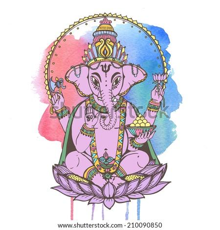 Hindu god ganesha -- the god of wisdom and prosperity. Raster hand drawn illustration. - stock photo