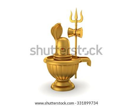 Hindu God Siva Linga with Trident - stock photo