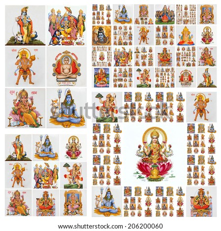 hindu gods pattern ( Krishna,Hanuman,Lakshmi,Shiva, etc. ) - stock photo