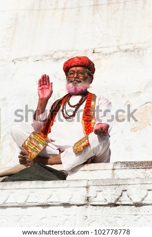 hindu holy man blessing - stock photo
