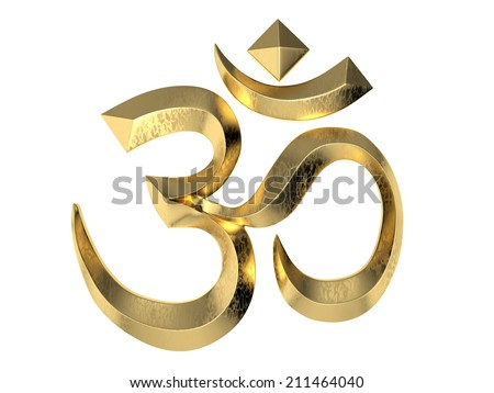 Hindu Om symbol on white background. 3D image - stock photo