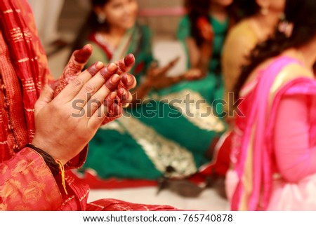 Hindu Rituals groom's hands with hina